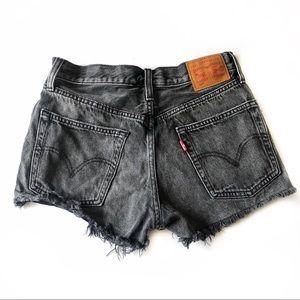 Levi's 501 Gray Distressed Denim Cutoff Shorts